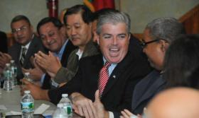 Photo credit: Newsday/Danielle Finkelstein   Steve Bellone leads a community forum on diversity issues in Brentwood. (Nov. 22, 2011)